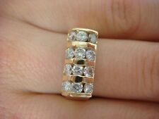 UNUSUAL 14K YELLOW GOLD 1 CT 3 ROW DIAMOND BAR DESIGN LADIES RING, SIZE 8
