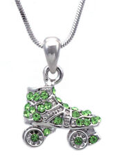 3 Dimensional Small Roller Skate Sport Pendant Necklace Lime Green Crystal