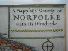 Map, Richard Blome, Norfolk, Norfolke, c.1673,  Antique Original, framed >