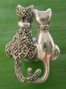 "REAL 925 sterling silver 20mmx30mm SWISS MARCASITE ""DOUBLE CAT"" BOOCH-MEN WOMEN"