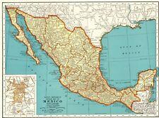 1942 Antique MEXICO Map Vintage Map of Mexico & Baja California Map 7086