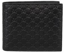 290f7aadbc0b70 NEW Gucci Men's 260987 Black Leather MICRO GG Guccissima Bifold Wallet