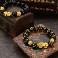 Feng Shui Black Bead Alloy Wealth Bracelet with Golden Pixiu Charms Jewelry S-O