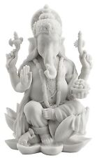 "Ganesh Ganesha Lord of Prosperity & Fortune White Sculpture Figurine - 7"" Tall"