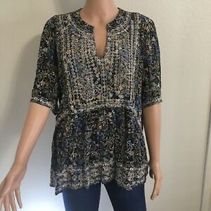 Knox Rose Women's Boho Blouse Embroidered XL Short Sleeve Navy Blue Floral New