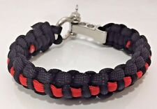 Premium Thin Red Line Fire FireFighter Paracord Bracelet Metal Clasp Support