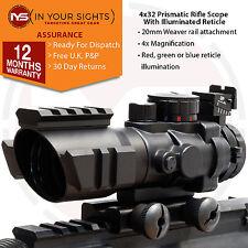 4X32 Prismatic rifle scope / Tri-illuminated reticle rifle sight & extra rails