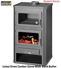 Stove & Oven Cooker 25kw BACK BOILER Wood Burning Multifuel Lotus Wood Burner