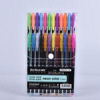 Gel Pens Set Glitter White Ink For Coloring Books Metallic Neon Colored K ez