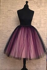 Black Pink tulle skirt,retro vintage party dress net 50s sizes 6 8 10 12 14 16