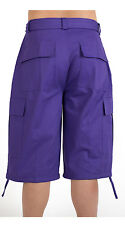 MEN BIG AND TALL CARGO SHORTS WITH BELT COTTON 19 COLORS TWILL SIZE 44~56