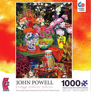 NEW John Powell FLOWER SHOP GAZEBO 1000 pc Jigsaw Puzzle 20 x 27 CEACO NICE !!