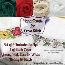 HAND TOWELS for CROSS STITCH Lot of 4 - Green, Red, Ecru, & White - All New