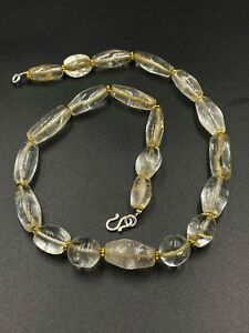 Old antique ancient beautiful crystals quartz beads necklace from Burma
