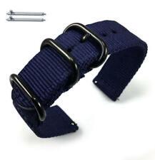 Dark Blue Nylon Watch Band Strap Belt Army Military Ballistic Black Buckle #6036