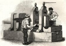 The manufacture of steel pens in Birmingham. Rolling the steel for pens, 1851