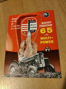 MASSEY - FERGUSON 65 TRACTOR WITH MULTI - POWER SUPERB COLOUR BROCHURE PRE USED