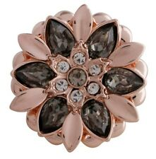 Rose Gold Black Gray Rhinestone Flower  20mm Snap Charm For Ginger Snaps Jewelry