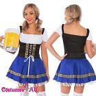 Ladies Beer Maid Costume Blue German Heidi Oktoberfest Octoberfest Fancy Dress