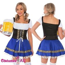 Ladies Beer Maid Costume Blue German Heidi Oktoberfest Octoberfest Fancy Dress