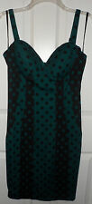Kardashian Kollection Black Green Polka Dot Bodycon Dress Large NWT