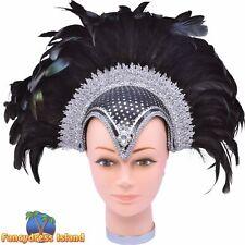 FEATHER JEWEL HELMET PLUME SHOW GIRL - womens ladies fancy dress accessory