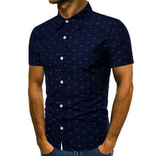 Luxury Mens Slim Fit Shirt Short Sleeve Cotton Stylish Formal Casual T shirt Top
