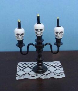 Dollhouse Miniature Halloween Skeletons Metal Candelabra white skulls 1:12 scale