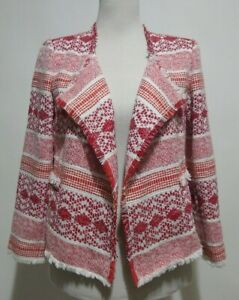 Ann Taylor Loft Blazer Sz 2 Jacket Open Front Woven Cotton Fringe Red White NWOT