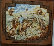 Cowboy Quilt Fabric Wall Hanging Panel Rodeo Rider Brown Woven Look Frame BTY