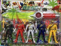 Power Rangers Action figures set of 5 powerrangers wiht Weapons 12 Pcs Set