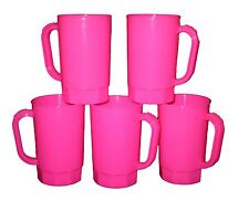 Pink Beer Mugs, Plastic, Pack 75 Wholesale Lot, Size 1 Pint, Mfg USA, No BPA