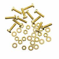 12 Schrauben M3 x 12 mm Messing DIN85 + Muttern + Unterlegscheiben