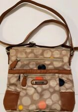 Crossbody Small Purse Hand bag CIRCLES Sling Adjustable Multi Section Shoulder