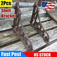 2Pcs Cast Iron Wall Shelf Bracket Rustic Garden Braces Fancy Decorative Brown US