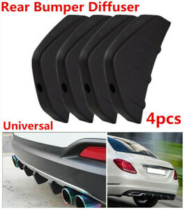 4Pcs SUV Car Rear Bumper Shark Fin Spoiler Black Diffuser with Accessories New