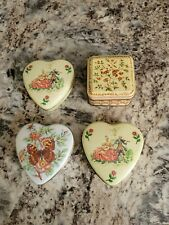 New listing Vintage Lot Of 4 Daher Tins With Lids Floral Hearts Square England