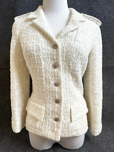 CHANEL 06C White Textured Tweed Boucle Jacket  sz 36