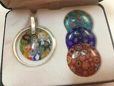 Sterling Silver Murano Millefiori Glass Set of 4 Interchangeable Round Pendants