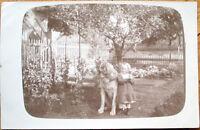 1914 Realphoto Postcard: Dog & Little Girl - Oberbalm, Switzerland Swiss