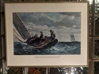Winslow Homer Painting Breezing Up beautiful vintage 22x28 Framed Nautical Print