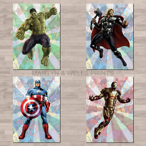 Marvel Avengers A4 canvas paper / poster prints. Hulk, Thor, Iron Man, America.