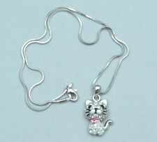 Mouse Mice Necklace silver tone Clear Rhinestones Lobster clasp 16 inch Sparkle