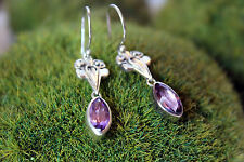 Sterling Silver .925 Handcrafted Earrings Brazilian Amethyst Purple Marquise