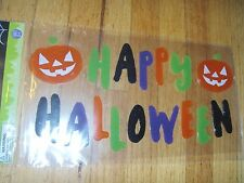New ! Happy Halloween Window Gel Stickers Cling Decor Pumpkin