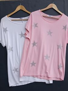 Gorgeous BUNDLE OF 2 Diamante Star Ladies T-Shirts / Tops - ONE SIZE Fit 10-16