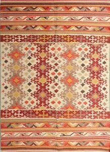 5x8 Handmade Woollen Kilim Dhurrie Hand-Woven Kelim Turkish Oriental Area Rug