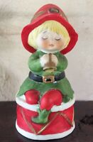 """Jasco Bisque Porcelain Hand Bell Christmas Elf On Drum 4"""" Hand Painted Bell"""