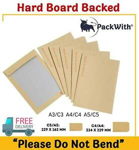 HARD CARD BOARD BACKED ' PLEASE DO NOT BEND' MANILLA BROWN ENVELOPES A3/A4/A5