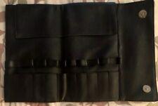 Black Leather Makeup Brush Button Up Folding Holder